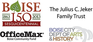 Susannah Sponsor Logos: Boise 150, Julius C. Jeker Family Trust, Office Max, and Boise City Dept. of Arts and History